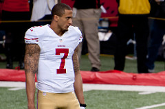 49ers player, Colin Kaepernick, who refused to stand for the national anthem. (Photo licensed under Creative Commons.)