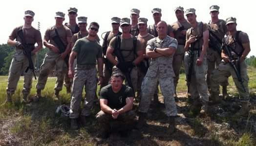 Veteran student Cameron Neivert poses with fellow Marines and Coast Guard members after a training drill in 2011  (Courtesy of Cameron Neivert)