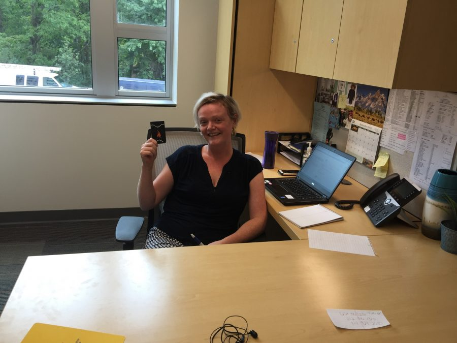 Mary Breen in the new  Office of Sexual Assault Prevention and Education in Elm Hall. (Photo courtesy of Joseph Tucci.)