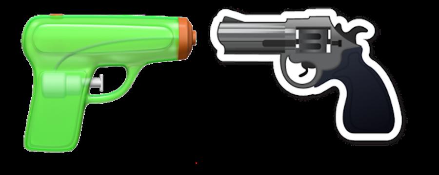 iOS+10+version+of+the+gun+emoji+and+older+gun+emoji.+Photo+courtesy+of+businessinsider.com.+