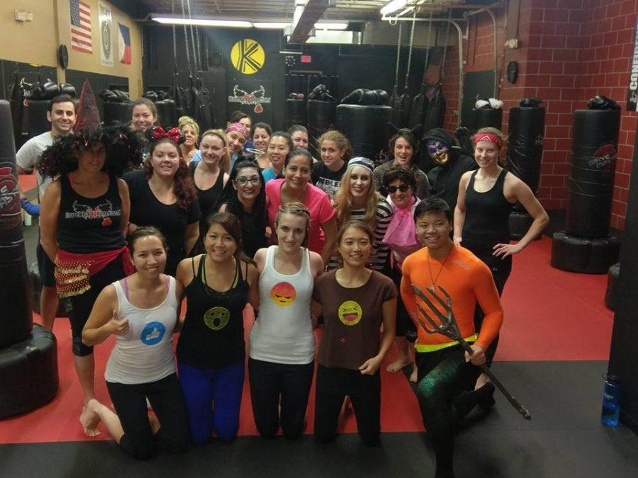 Kickboxing students get ready to workout during their Halloween themed class  Photo by Ricky Guerzon
