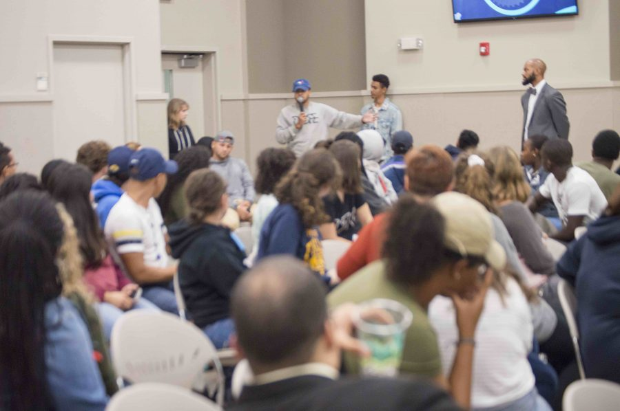 A student speaking at the All Lives Matter? event. Photo courtesy of Mario Picarido.