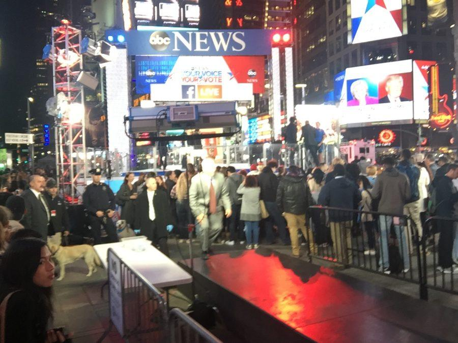 Thousands of people gather at ABC News Headquarters in Times Square to watch the election results. (Photo by Joseph Tucci)