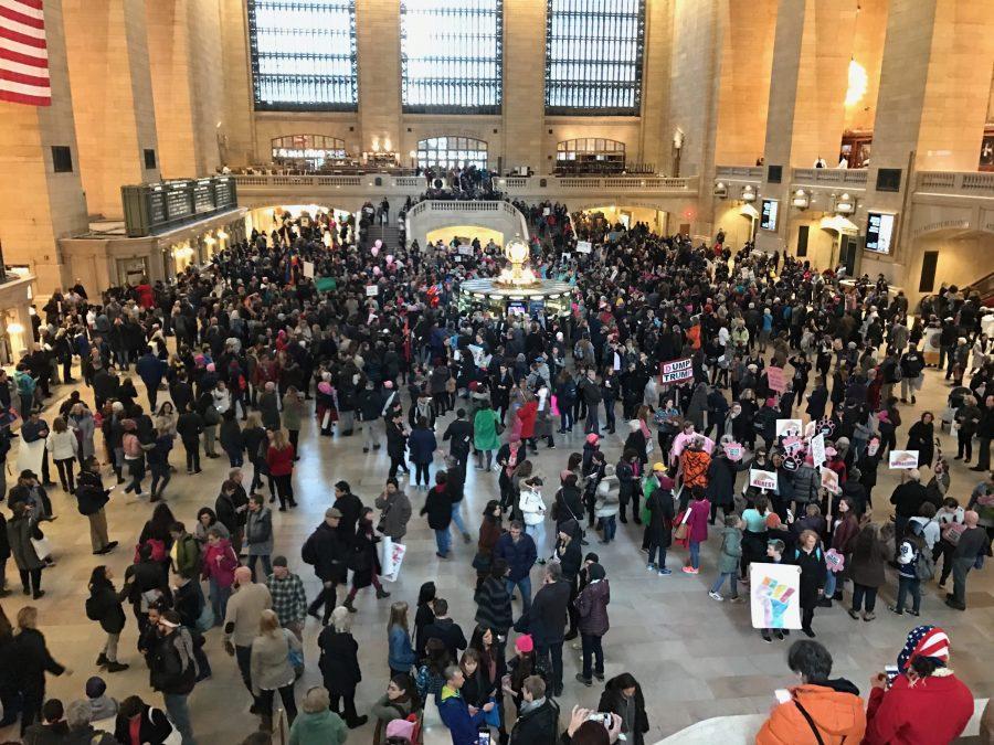 Anti-Trump Protestors in Grand Central Station. (Photo by Joseph Tucci)