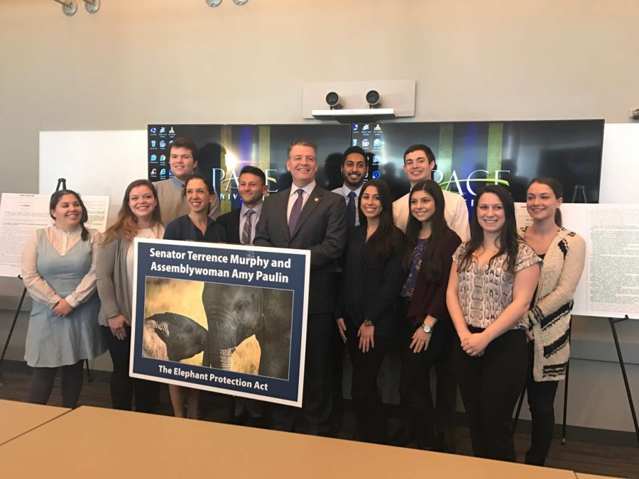 Senator Terence Murphy, along with students at the press conference. Photo by Joseph Tucci.