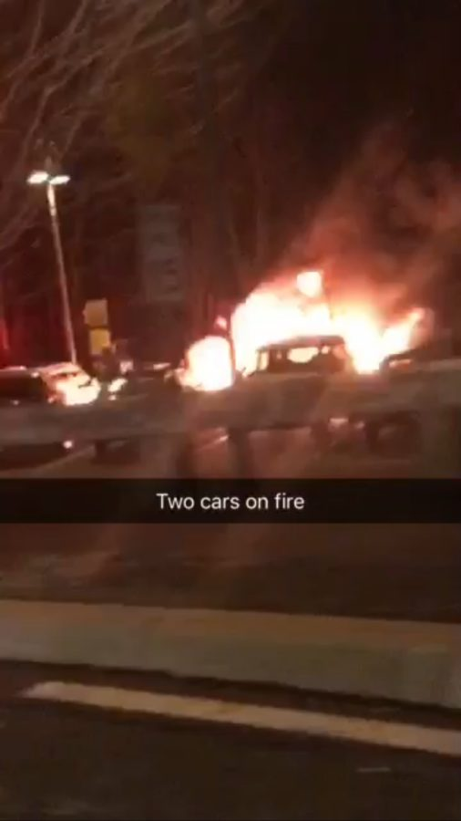 The two cars burning. Snapchat by Dominique Jordyn Harloff.