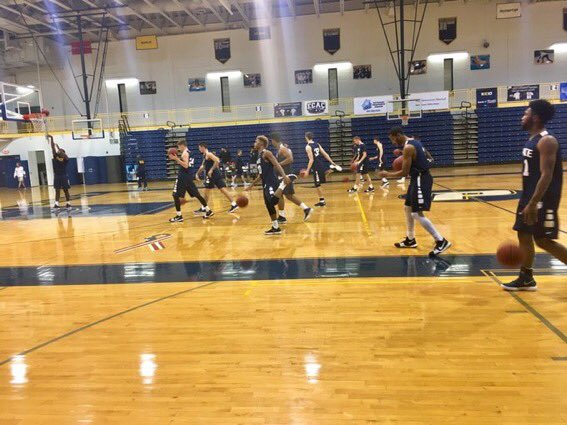 The Men's Basketball Team during their First Practice of the Year. Photo Courtesy of Pace U Athletics.