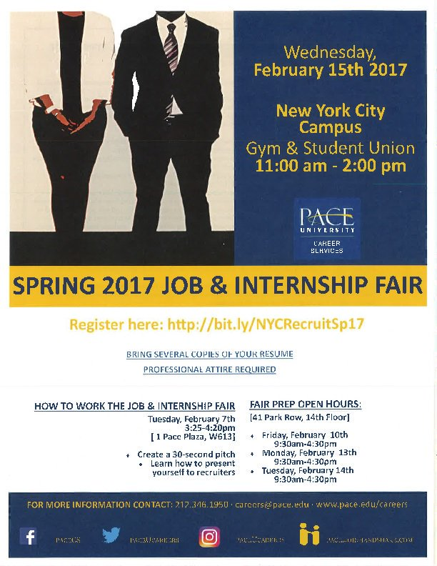 Paces flier for last years spring semester job and internship fair. Photo courtesy of google.
