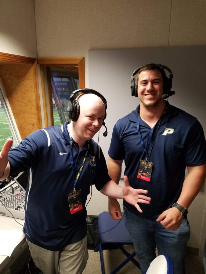 Pace play-by-play broadcaster, Mike McGinnis (Left), alongside color commentator Chris DeAngelo (Right) during a Pace Football game. Photo Courtesy of Mike McGinnis.