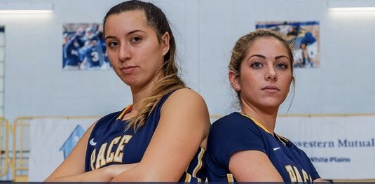 Pace Women's basketball senior captains Gabriella Rubin (L) and Geena Rosalbo (R) look back at their relationship through the years as they approach the twilight of their playing careers. Photo Courtesy of Pace Athletics.