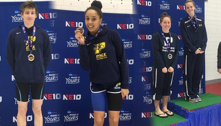 Daniel Galarza, Annabel Keppel-Palmer, Sophia Howard and Alexis Heiney (pictured above) won gold medals for the Setters in the NE-10 Conference Championship. Photo Courtesy of Pace U Athletics.