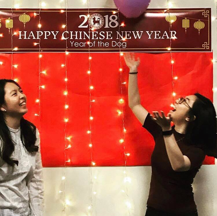 Xiao Chen (left), vice president of Asian Student Union  and Sammi Li (right), during their Lunar New Year event