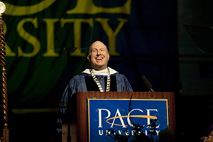 President Krislov, along with a number of others at Pace oppose adding firearms to the university's campus. Photo Courtesy of Pace.edu.