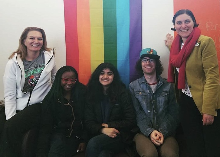 WNBA Hall of Famer Sue Wicks (far left) visited Pace to provide life advice for students and faculty. Photo Courtesy of the Pace Pleasantville LGBTQA Center.