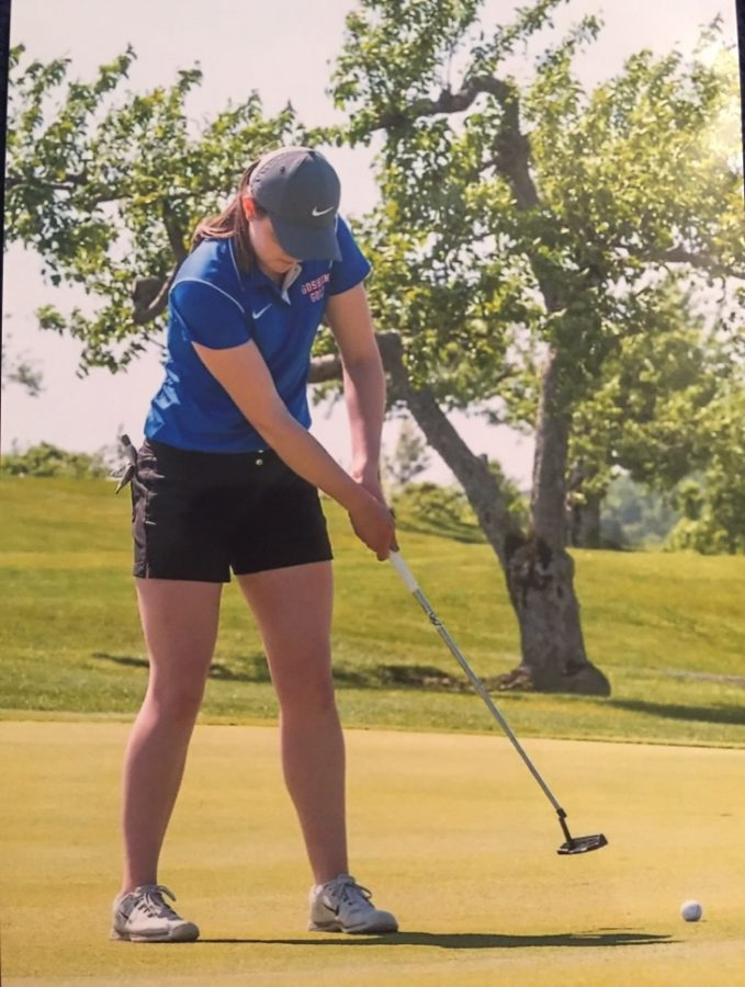 Sophomore Kathleen Biagi (pictured above) has a vision of spreading the love of golf throughout the campus. Photo Courtesy of Kathleen Biagi.