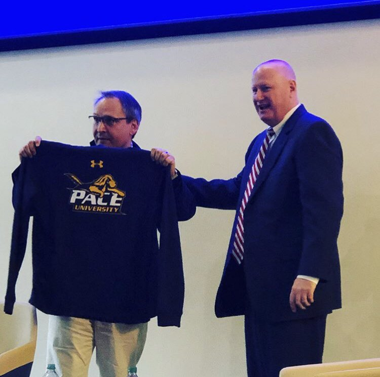 ESPN's VP of Corporate Citizenship Kevin Martinez (L) posing with Pace Athletic Director Mark Brown (R). Photo Courtesy of Pace University Career Services.