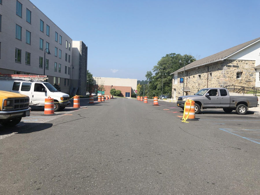 The parking lot behind Alumni Hall that would be used by freshman if they were allowed to have cars on campus.