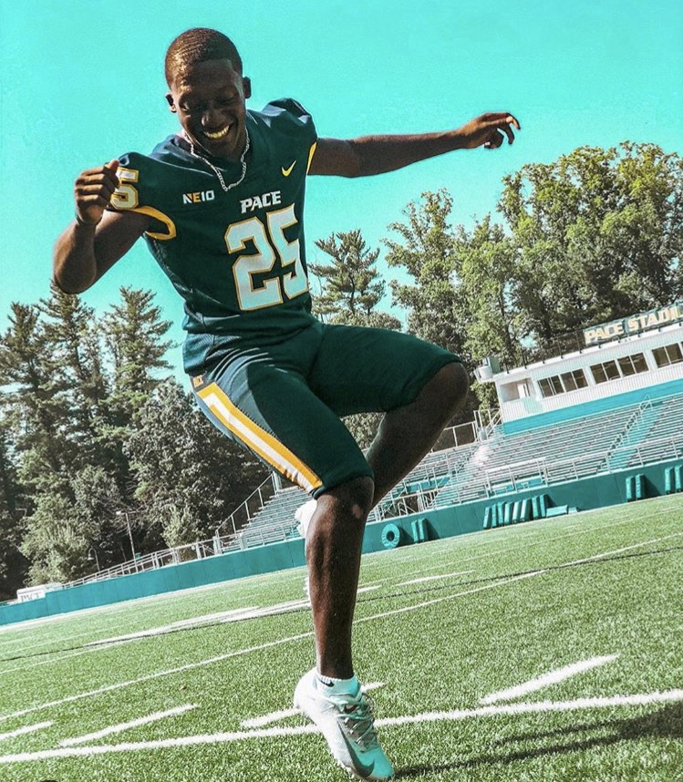 Pace Football player Marquis Pickering is well-known for his athletic skills on the field, and his artistic prowess off of it.