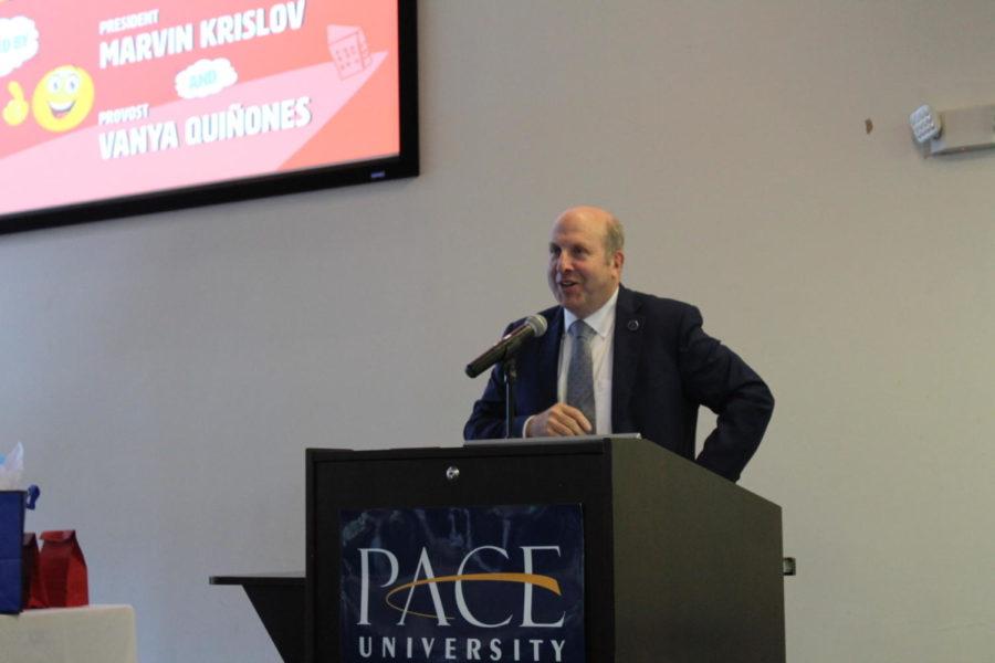 President Krislov at the podium on Thursday.