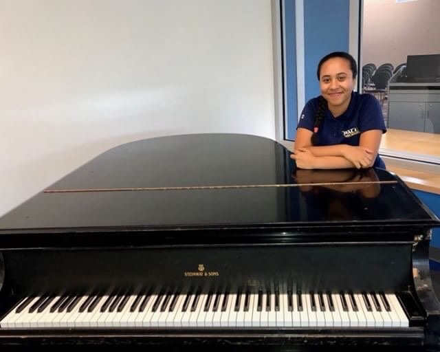 The music that rings through the ears of many students at the Kessel Student Center often comes from the piano playing of junior Accounting major Brittany Pezzola.