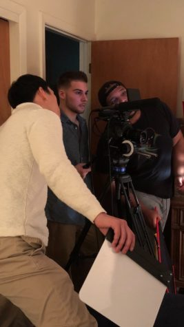 "Nick Goodwin and his production crew on set for his film ""Shadow"""