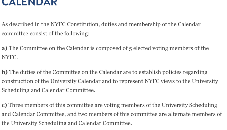 Calendar committee guidelines. Photo courtesy of pace.edu.