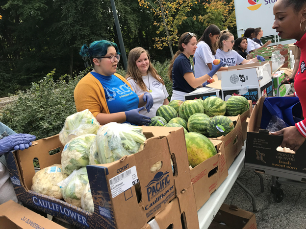 Student volunteers passing out fruits and vegetables to fellow students and the Westchester community.