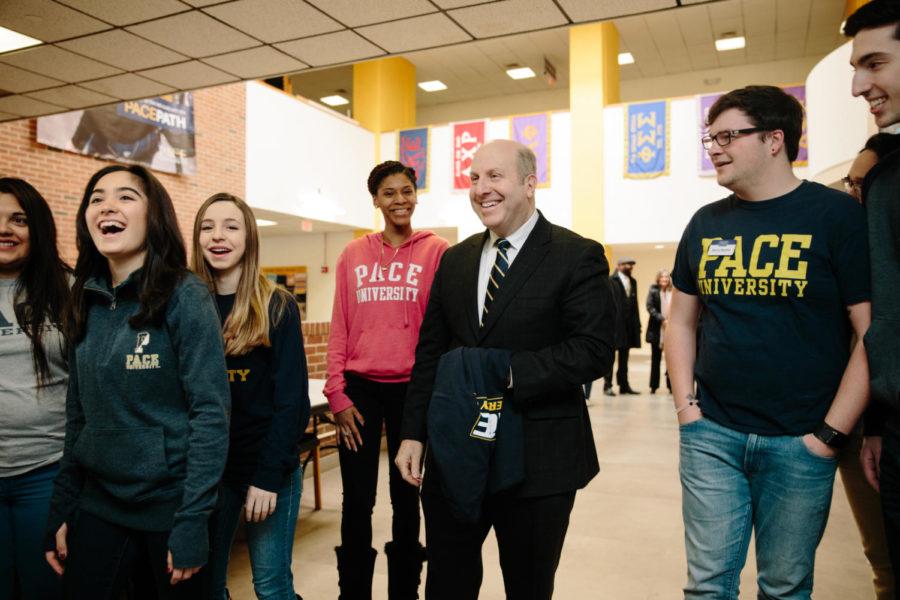 President Krislov at the Kessel Student Center.