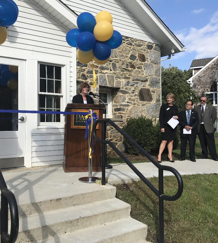 Interim Associate Provost Nancy Reagin talking about experiential learning and internships at the Career Services ribbon cutting.