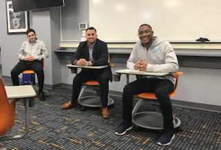 From left: Kyle Coimbra, vice president of Lubin Student, Joe Casarella, Pace class of '17, and James Best, class of '18, at a panel about working in the sports industry on Wedneday, October 24th.