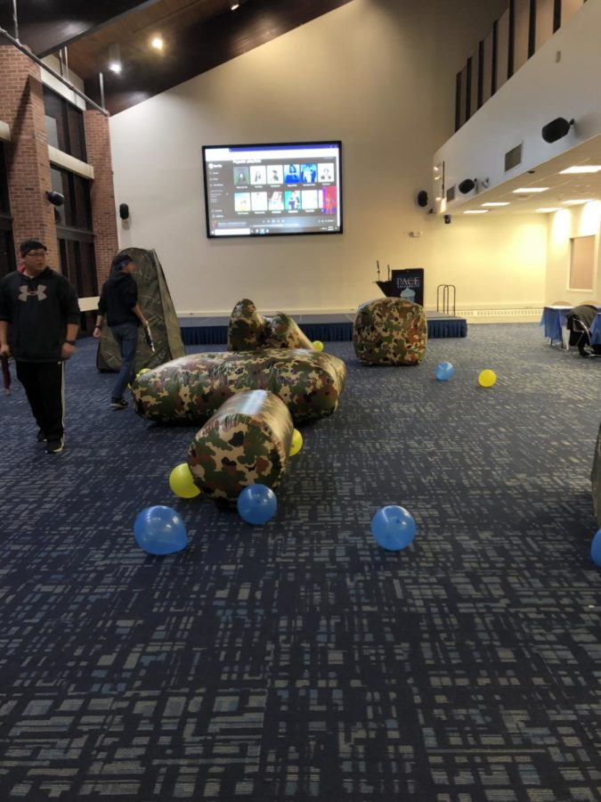 Laser tag obstacles and players during the Hanukkah Party