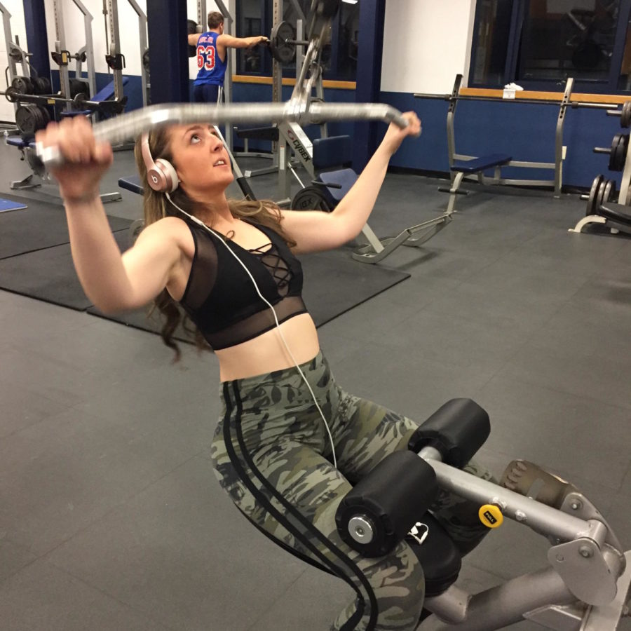 Students use plenty of methods to maintain their mental health, including Junior Marisa Moudatsos (pictured above), who blows off steam at the gym.