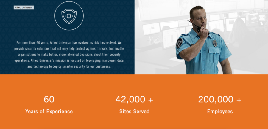 Allied Universal has over 60 years of experience as a security company.