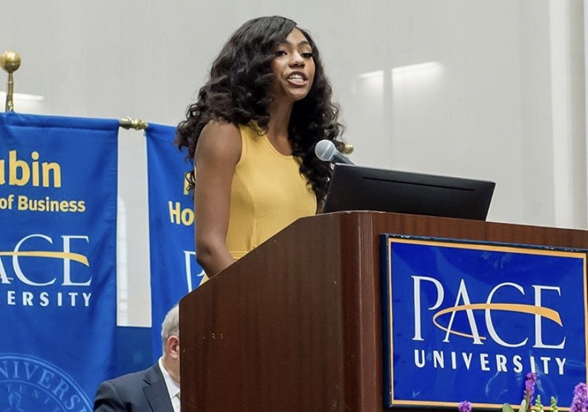 SGA President Madia Bestman addressing the class of 2023 at convocation.