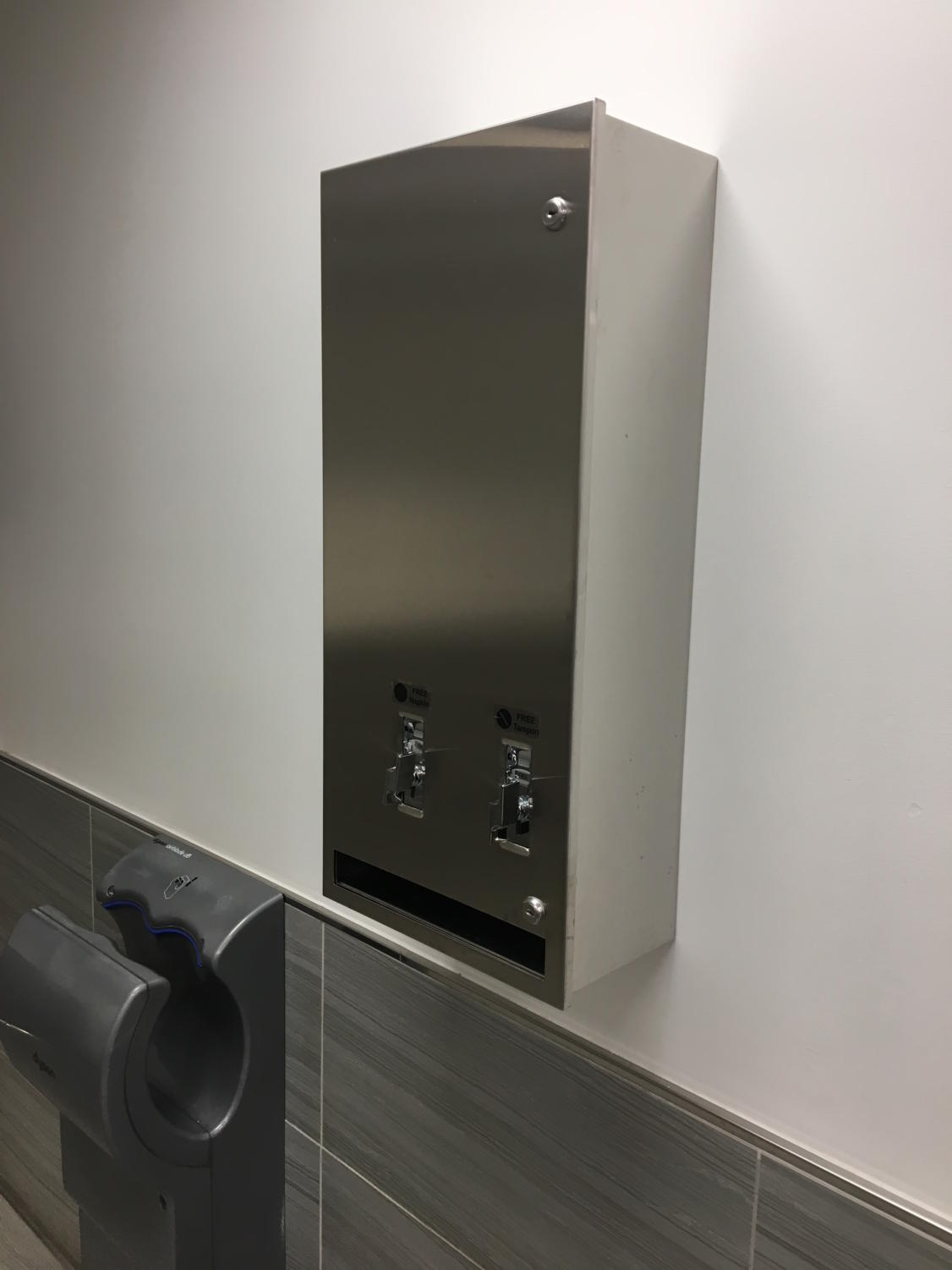 An example of one of Pace's pad and tampon dispensers.