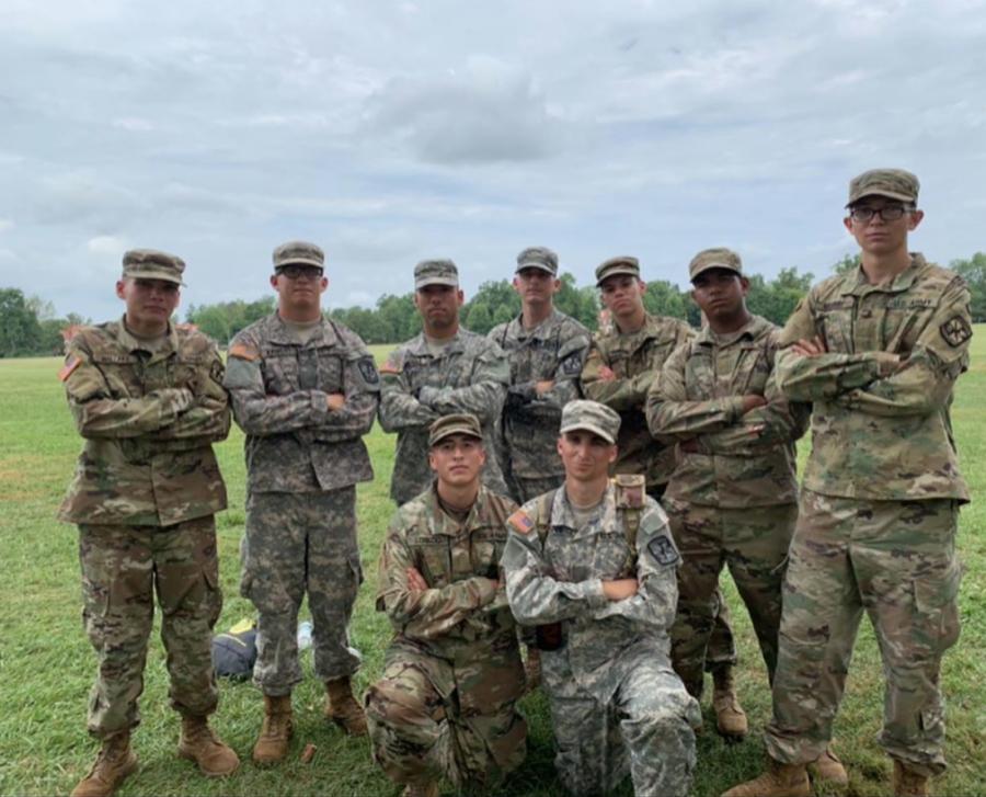 Jared Maldonado poses with fellow cadets at basic training.