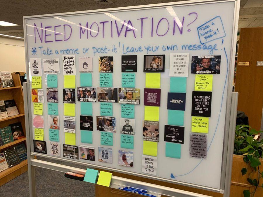 Meme Motivation board in Mortola Library.