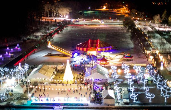 Kenisco Dam's Westchester Winter Wonderland, featuring lights, ice skating, and carnival-style rides.