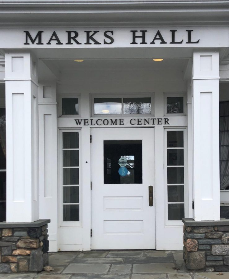 Marks+Hall+is+home+to+the+welcome+center+and+used+to+be+the+first+impression+future+Setters+saw+on+the+Pace+Pleasantville+campus.+However+due+to+COVID-19%2C+many+tours+are+conducted+over+zoom+or+in+a+drive-thru+format.+