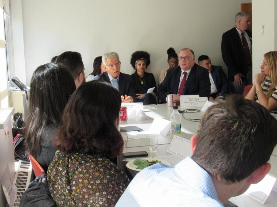 Students, faculty and staff at Lubins roundtable event, featuring former HBO chairman and CEO and Pace alumnus Bill Nelson.