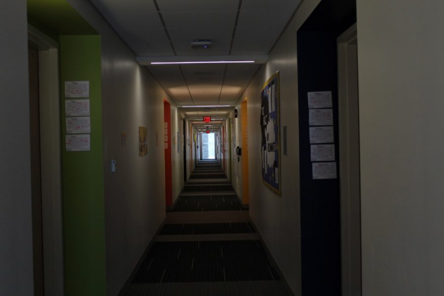 Dark+and+empty+resident+halls+after+majority+of+residents+moved+off+campus.+