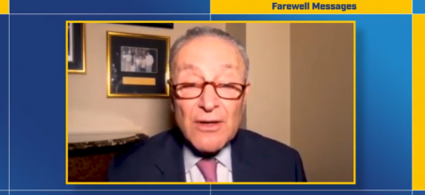 New York Senator Chuck Schumer addresses Pace's class of 2020 during the virtual commencement ceremonies on Wednesday, May 20.
