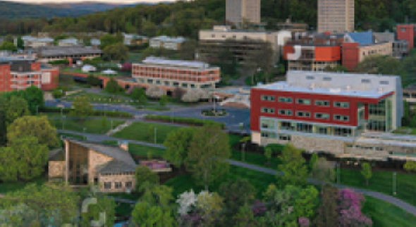 Aerial view of Ithaca College.