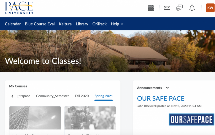 When students log onto the new learning management system, this is what their home page will appear as.
