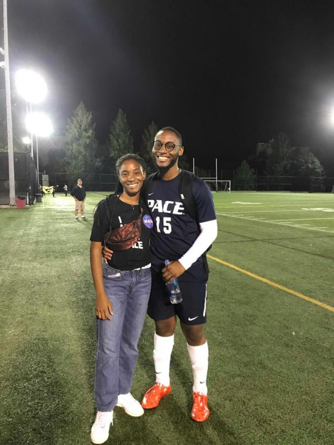 Abunaw with his sister after a soccer game in 2019.