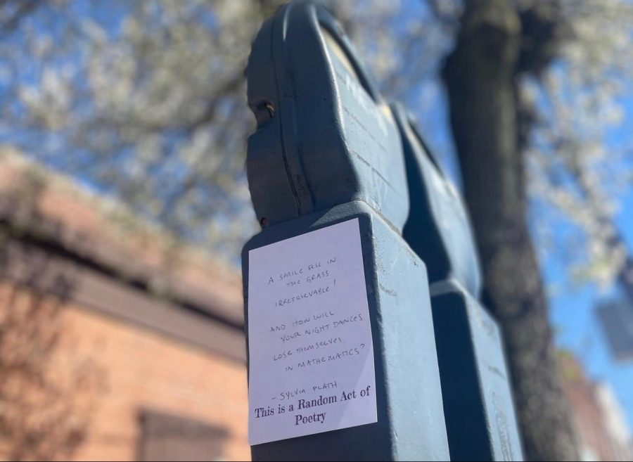 A Sylvia Path poem written on a parking meter off campus.
