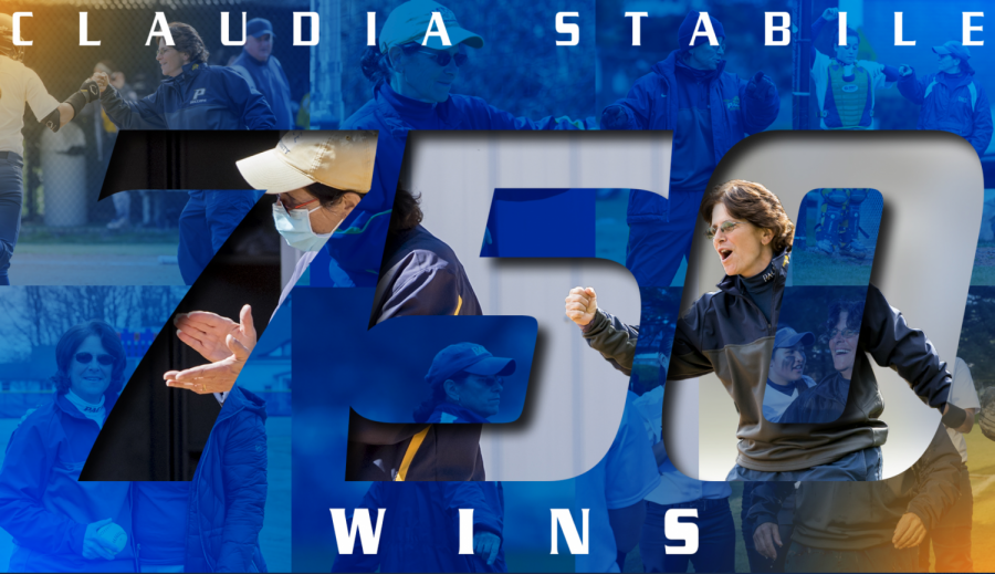 Coach Claudia Stabile reaches a career milestone in achieving a total of 750 wins. Pace Athletics created and tweeted this montage to celebrate her victory.