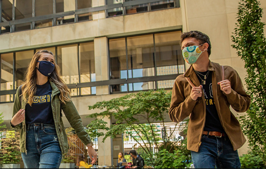 Students, faculty, and staff must wear a mask indoors, and outside when social distancing cannot be enforced.